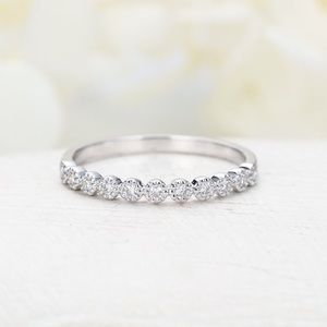Jewelry - ❤️Solid 925 sterling silver wedding band Pave Ring